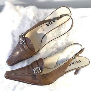 Prada Leather Slingback Mules Taupe Witchy 8.5